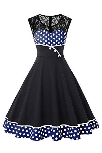 MisShow Rockebillykleider Damen Festliches Kleid Spitzen Petticoat Kleider Partykleid Fasching Kleider Blau M