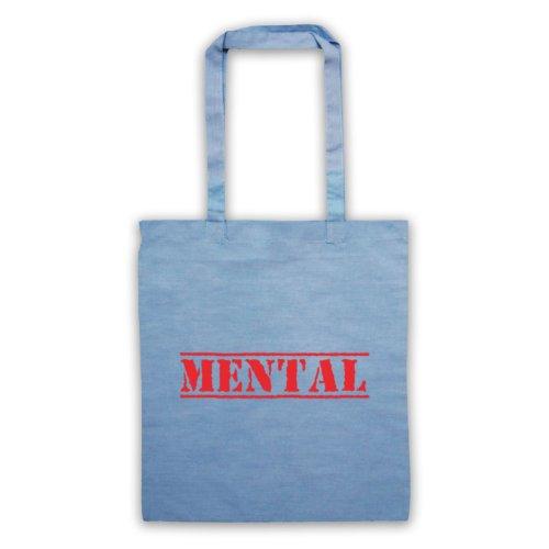 Mental Funny Slogan Tote Bag Azzurro