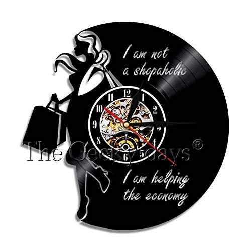 TYFEI Hipsters Langes Haar Lady Wanduhr Fashion Shopping Girl Vinyl Record Clock Exotische Lady Wall Art Moderne Wanduhr Geschenk Für Sie - Exotische Vinyl
