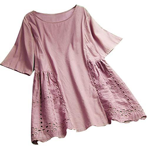 1e88dea29a57b1 Lazzboy T Shirt Top Women Plain Short Sleeve Tee Oversized Ladies Loose  Blouse Plus Size(