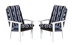 Ambientehome 90327 Gartensessel Gartenstuhl Loungesessel 2-er Set Massivholz Hanko Maxi, weiß/grau mit Kissen, schwarz/grau