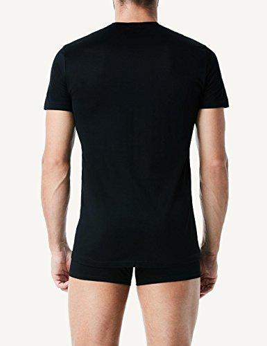Intimissimi Herren Halbarm-Shirt mit Rundhalsausschnitt aus mercerisierter Baumwolle Schwarz - 019