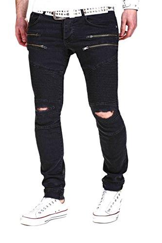 MT Styles Biker Jeans Slim Fit Pantalon RJ-2071 Noir