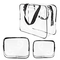 3Pcs Crystal Clear PVC Travel Toiletry Bag Kit for Men Women, Waterproof Vinyl Packing Organizer Storage Bag with Zipper Closure and Handle Straps, Cosmetic Pouch, Diaper Bag, Handbag Pencil Bag Black