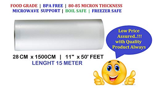 VACUUM PACKERS Food Grade Plastic 90 Mincron Vacuum Sealers Roll (11Inch x 50 ft, Transparent)