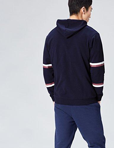 FIND Hoodie Herren mit Sportstreifen und Colour Blocking Blau (Navy)