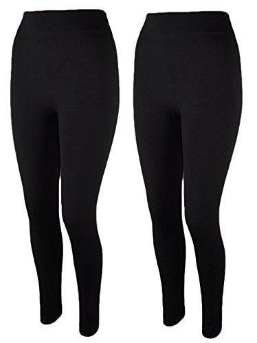 2x Damen Thermo Leggings Fleece gefüttert Leggins 3XL 4XL t05 (schwarz/schwarz)