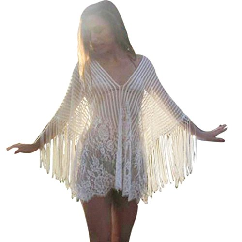 OverDose Frauen Baden Bikini Badeanzug Bademode Crochet Kittel Fransen Strand Cover Up (White ,Free size )