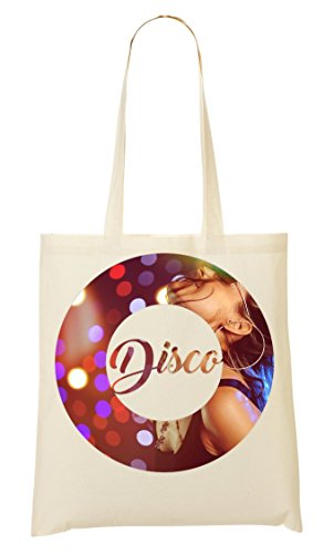 ShutUp Disco Party Girl Dancing Music collection Vintage style Old-school Club Tragetasche Einkaufstasche (Dancing Girl T-shirt)