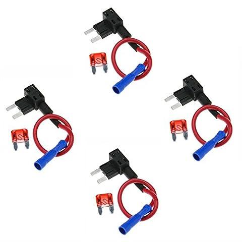 Gankarii–4PCs Circuit fusible robinet Piggy Lame Dos Standard ATO ATC Porte fusible Boîte 12V 24V avec un Circuit de 10A Mini Lame