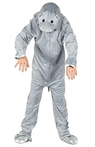 Foxxeo Hippo Nilpferd Kostüm Grauer Overall für Kinder Tierkostüm Jungen Mädchen Fasching Karneval Größe (Hippo Kostüm)