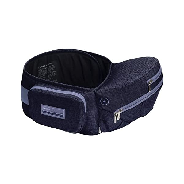 Bebamour Foldable Baby Carrier Hip Seat Baby Carrier Newborn to Toddler with Large Pockets Ergonomic Toddler Waist Seat for 0-36 Months (Dark Blue) bebear ❤️Unique Designed - The baby carrier can be foldable. There is a foldable aluminum tube support in the hip seat. When you going out, you can folding the hip seat and put into the pouch easily. ❤️Two Zipper Pockets - 1 front zipper pocket can put bottles, diapers. 1 side zipper pocket fits cellphone or other small things. It is good for you to take your baby outside without bag. ❤️Three Carry Styles: Horizontal Position, Facing Inward and Facing Forward Position. Weight 33 pounds and for your baby who is 0-36 months. 1
