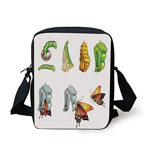Butterflies,Illustration of Butterfly Stages with Cocoon Life Cycle Nature Print Home Decor Decorative,Multi Print Kids Crossbody Messenger Bag Purse