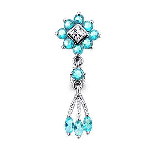 Barres de Pierre en cristal fleur tendance Design 925 argent Sterling avec le ventre en acier inoxydable Light Blue