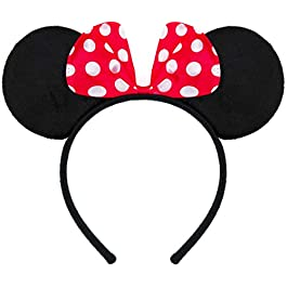 Hairband in black with mouse ears Minnie Mouse with bow in red with white dots for kids and adults
