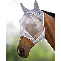 Harrison Howard CareMaster Maschera Anti-Mosche per Cavallo UV Protezione con para Orecchie Argento (S; Pony)
