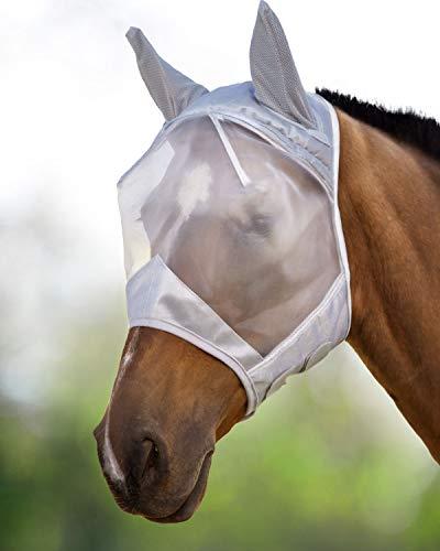 Harrison Howard CareMaster Fliegenmaske UV-Schutz mit Ohrenschutz Silber Warmblut (L)