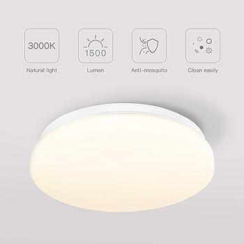 Plafoniera a LED impermeabile TECKIN 1500 LM Plafoniera18W, 3000K bianco caldo per camera da letto, soggiorno, ufficio