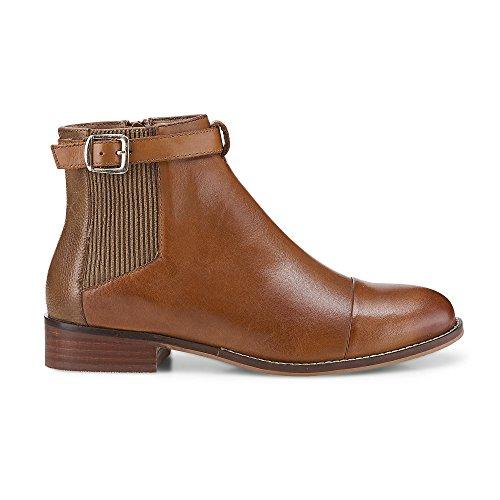 Cox Damen Damen Chelsea-Boots in Braun aus Nappa Leder, Stiefelette mit Schnalle Braun Leder 40