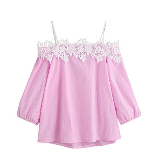 Internet Damen Von Schulter T-Shirt Spitzenbluse (L, rosa) (Sleeve Drei Shirt Viertel)
