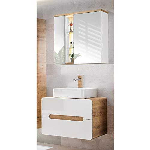 *Lomadox Badezimmer Waschplatz Set, Hochglanz weiß mit Wotaneiche, 80cm Waschtisch-Unterschrank mit Keramik-Waschbecken & LED-Spiegeslchrank*