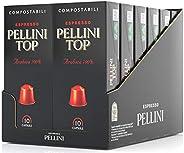Pellini Caffè Top Arabica 100%, Capsule Compatibili Nespresso, COMPOSTABILI e Autoprotette, 12 Astucci da 10 C