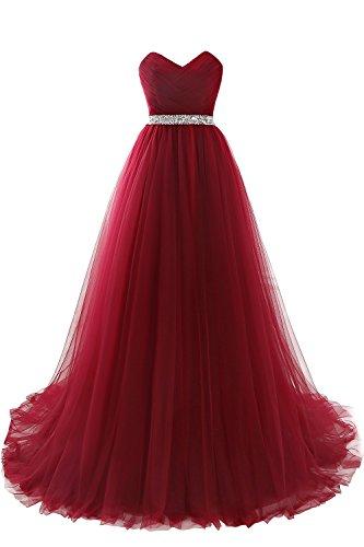 MisShow# Damen Abendkleid Lang Spitze A-Linie Rot Cocktailkleid Ballkleid Hochzeit Brautjungfernkleid Bustier 36