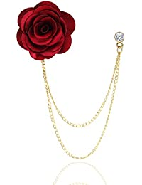Marvel Panjatan Red Fabric Rose With Golden Chain Pin Brooch For Unisex