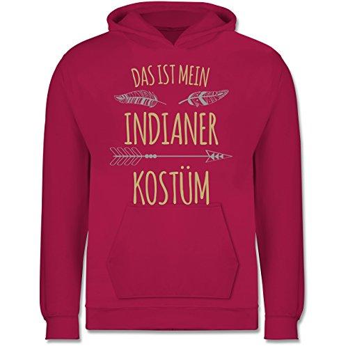 Kostüm Marken Indianer - Shirtracer Karneval & Fasching Kinder - Das ist Mein Indianer Kostüm - 7-8 Jahre (128) - Fuchsia - JH001K - Kinder Hoodie