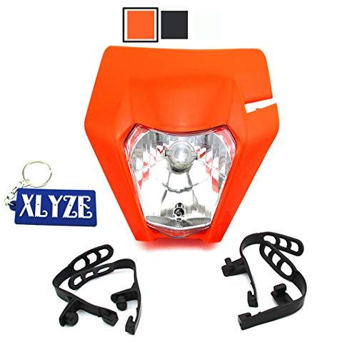 XLYZE Motorrad Scheinwerfer für EXC XCF XCW EXCF SX-F EXC F W SX SXF 125 250 300 450 500 530 orange