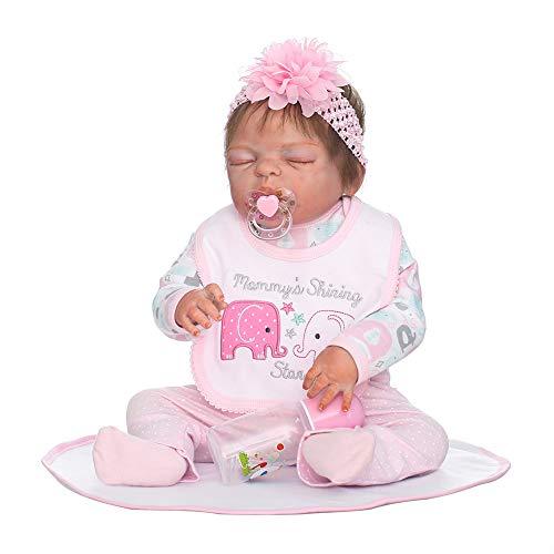 CAheadY Lebensechtes Neugeborenes Baby Vinyl Silikon Reborn Puppe Blume Baden Schlafenspielzeug (Lebensechte Baby-puppen Für Erwachsene)