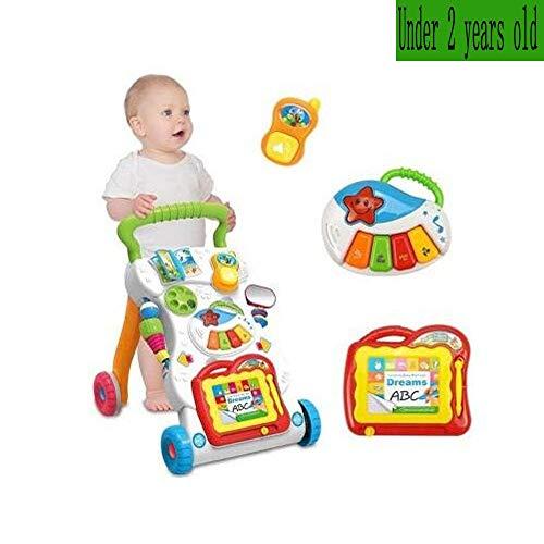 VOVIJ Multifunktions-Walker, 2 IN 1 Early Education Multifunktions-Anti-Rollover für Baby-Musikwagen mit Einstellbarer Geschwindigkeit (Einem Walker In Babys 2 Für)