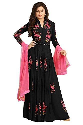 Trendigo-FashionHub-WomenS-Black-Georgette-Attractive-Traditional-Dress-MaterialsSalwar-Suit-Free-Size-JCN-1111A-TFIBlack