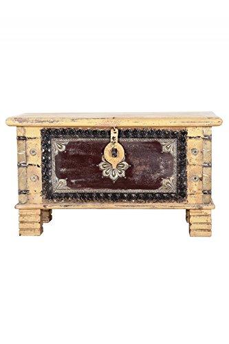 Orientalische Truhe Kiste aus Holz Chayma 80cm groß   Vintage Sitzbank mit Aufbewahrung für den Flur   Aufbewahrungsbox mit Deckel im Bad   Betttruhe als