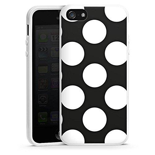 Apple iPhone SE Housse Outdoor Étui militaire Coque Pois Années 50 50s Housse en silicone blanc