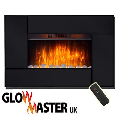 Led Electric Fire Wall Mounted Fireplace Black Glass Widescreen Flicker Flame (Black)