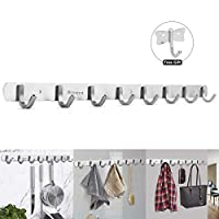 Aitere 8 Hooks Coat Hook Rack Wall Mounted 304 Stainless Steel Hanger Heavy Duty Clothes Hat Holder(Extra a Hook for Free)