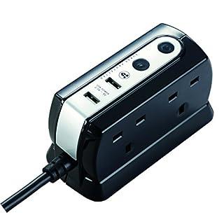 Masterplug SRGDU41PB2 2.1 A 1 m 4 Gang 2 x USB Compact Surge Extension Lead - Polished Black