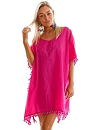 Boldgal Women's One Piece Tassel Cover-up (Pink)