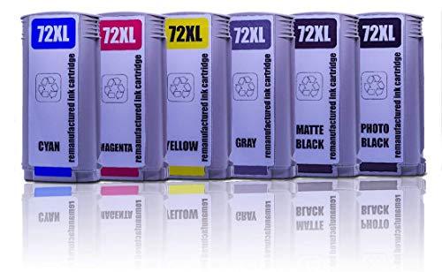 PRINTMANIA Tintenpatrone/Druckpatronen ersatzt für HP 72, HP DesignJet T1100 24 Inch, T1100 44 Inch, T1100 MFP, T1100 PS 24 Inch, T1100 PS 44 Inch (MBK/PBk/C/M/Y/G) 6-Stück -