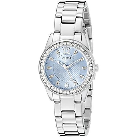 Guess Mujer u0445l5deportivo femenino reloj plateado con esfera color azul cielo