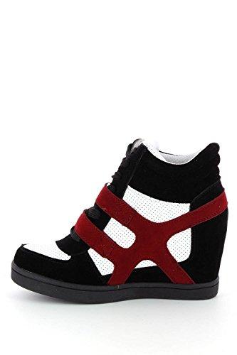 Baskets mode compensées bimatière urban - chaussures femme Rouge