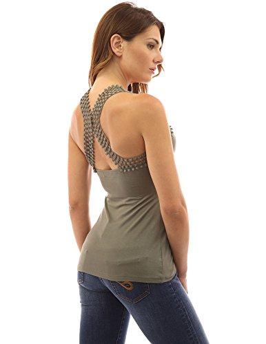 PattyBoutik femmes blouse à bretelles détail dentelle olive verte