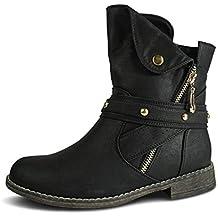 e038cef779fb31 Schuhtraum Damen Stiefeletten gefüttert Stiefel Boots Biker Nieten ST281