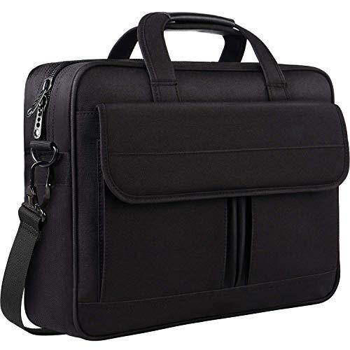 Laptop Tasche 15,6 Zoll, Business Aktentasche Wasserabweisende multifunktionale große Computer Tasche Schultertaschen für Männer Frauen Reisebüro Umhängetasche für Notebook, Schwarz