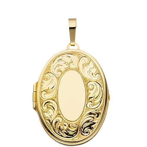 eilmattiert 925 Sterling Silber vergoldet zum Öffnen für Bildereinlage 2 Fotos Amulett von Haus der Herzen® mit Schmuck-Etui ()