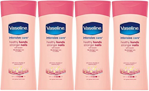 Crema hidratante para unas uñas más fuertes y manos más sanas con queratina, 4 unidades de 200ml, de Vaseline Intensive Care