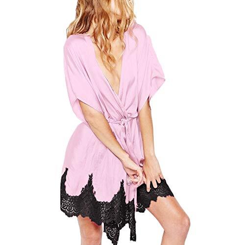 LILICAT⁂Peignoir Satin Robe de Chambre Kimono Manches Courtes Top Femme Vêtement de Nuit Pyjama Kimono Robe de Nuit en Satin Robe de Chambre Ceinture Femme Satin Lingerie Dentelle Peignoir Robes