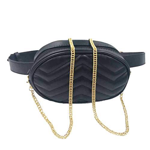Gürteltasche Damen Bauchtasche Mode Hüfttasche Damen Geldbörse Ovalen Taschen Umhängetasche Mini Gürteltasche für Reise Wanderung und Alle Outdoor-aktivitäten(Gürteltasche Damen Schwarz)
