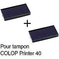 2-Tampón de tinta de recambio para tampones COLOP Printer 40 59 x 23 mm, color negro